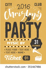 Christmas party retro typography poster. Christmas, hand made lettering flyer design. Vector illustration Eps 10.