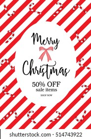 Christmas Party sale printable template with green and White Mini Candy Canes for Christmas