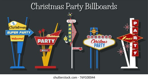 Christmas Party Signboards. Mid Century Billboards - Invitation to a Xmas Party