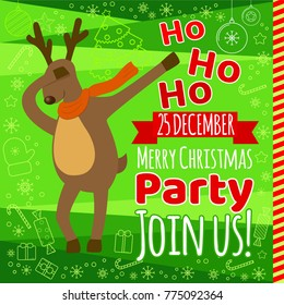 christmas party typography design template with funny reindeer making dab dance youth teenage culture - Youth Christmas Party Decorations