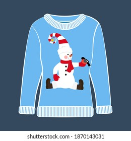Christmas party ugly sweater vector illustration on the blue background