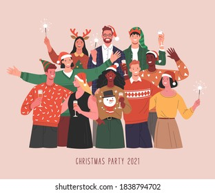 Christmas party. Vector illustration of diverse people in Christmas outfits standing together with wine glasses and Bengal lights. Isolated on background