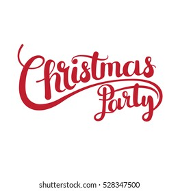 Christmas party vector text Calligraphic Lettering design card template. Creative typography for Holiday Greeting Gift Poster. Calligraphy Font style Banner