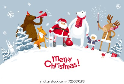 Christmas Party in the winter forest with the participation of Santa Claus and funny cartoon forest animals: elk, deer, fox, bear and polar bear. For posters, banners, sales and other winter events.