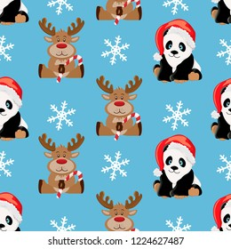 Christmas pattern animals. Vector pattern design