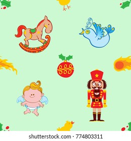 Christmas pattern composed by a rocking horse, a singing bird, a nutcracker with broken teeth and a baby angel. Christmas hollies, comets, a red bauble and little chickens complete the pattern