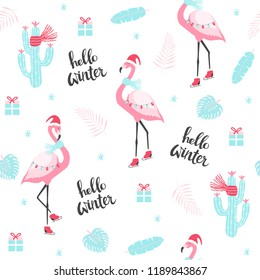 Christmas pattern with cute flamingo on skates. Vector illustration