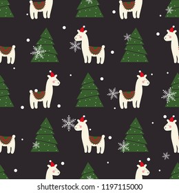 Christmas pattern with cute Lama. New Year's Wallpapers