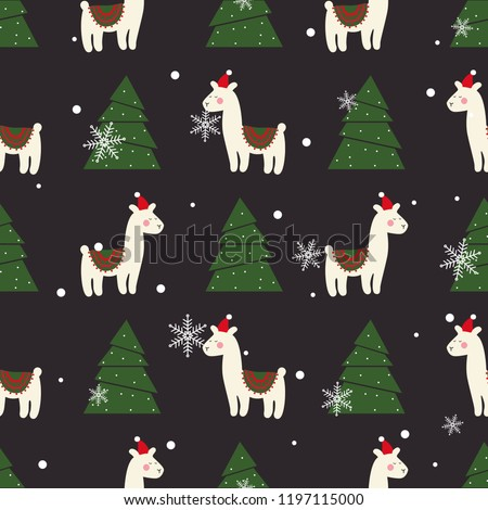 christmas pattern with cute lama new years wallpapers