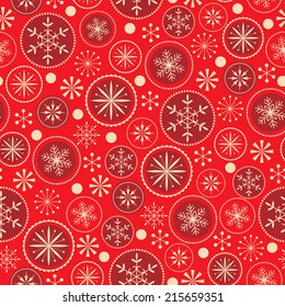 Christmas pattern with decorative snowflakes on red  background.