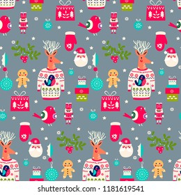 Christmas pattern with deers in the pullover. Funny cute happy new year texture with red birds deers and nutcrackers.