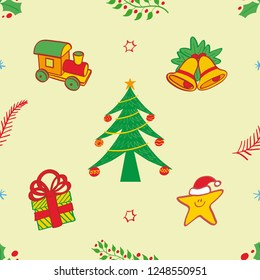 Christmas pattern depicting a toy train, bells, a Christmas tree with baubles, a Xmas present and a smiling star wearing Santa hat. Evergreen hollies, red berries and branches complete the pattern