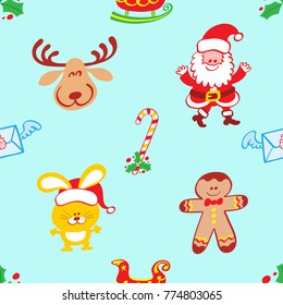 Christmas pattern featuring a smiling reindeer, a welcoming Santa Claus, a bunny with Santa hat and a smiling cookie man. Hollies, winged letters, a candy cane and sleighs complete the pattern