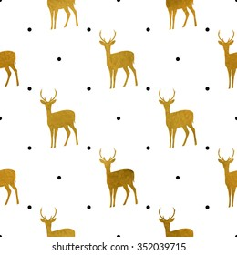 Christmas pattern with golden deers. Vector texture for gift packaging, invitation card, cover, wallpaper, scrapbook, textile, holiday decor.