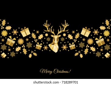 Christmas Pattern Golden Tree Decoration Happy New Year Background Gold Xmas Head Of