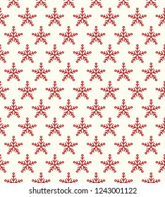 Christmas pattern with hand drawn snowflakes. Vector.