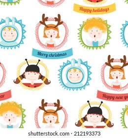 Christmas pattern with kids