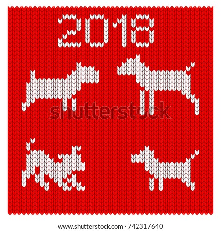 Christmas Pattern Knit Dog Symbol New Stock Vector Royalty Free