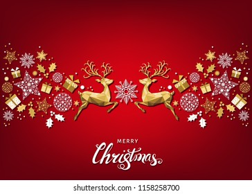 Christmas pattern with lettering and gold Xmas deer and snowflakes. Tree decoration. Happy New Year red background. Vector colorful template for greeting card.