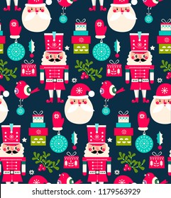 Christmas pattern with nutcrackers, presents, gifts and Santa. Merry Christmas pattern with cartoon characters. Trendy Happy New year pattern in red colours.