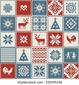 Christmas pattern in patchwork style. Traditional ornamental background.