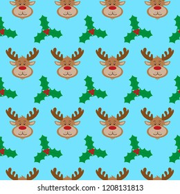Christmas pattern with reindeer and holly leaves. Vector illustration
