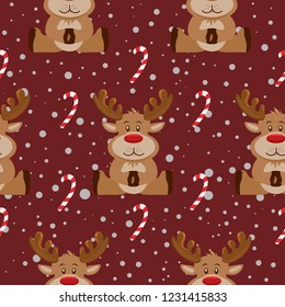 Christmas pattern with reindeer . Vector pattern
