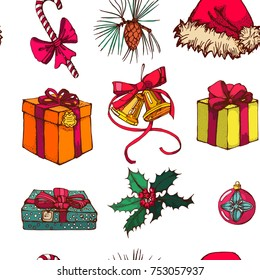 Christmas pattern , seamless ,beautiful vector illustration ,jingle bells, Santa Claus hat,Holly,gifts on white background