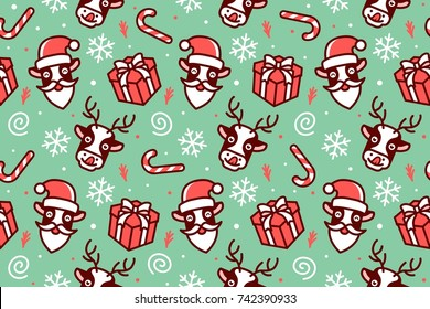 christmas pattern seamless cute animal cartoon cow horse deer santa claus candy gift snowflakes green red wallpaper background