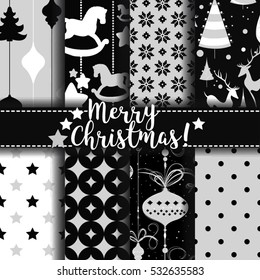 Christmas pattern. Set of seamless vector patterns with deer star horse