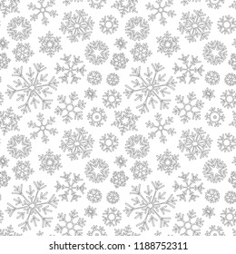 Christmas pattern from snowflakes for a card vector. For coloring book.Hand-drawn doodle decorative. Black and white pattern.