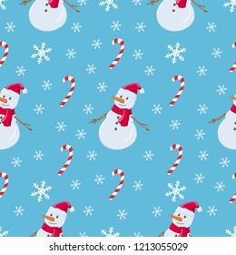 Christmas pattern snowman, candy stick and snowflakes. Vector pattern