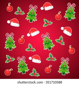 christmas pattern with tree, hats and balls decoration