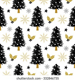 Christmas pattern with tree, holly, snow and stars. Vector illustration. Template for Greeting Scrapbooking, Congratulations, Invitations.