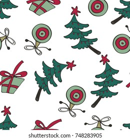 Christmas pattern with Christmas trees and gift boxes