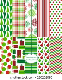 Christmas patterns. Holiday patterns. Repeating patterns for Christmas or holiday backgrounds, cards, scrapbook paper, gift wrap, tags and more. Red and green. Whimsical snowflakes, bells and gifts.