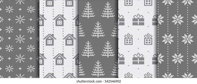 Christmas patterns. Knitted background. Winter illustrations.
