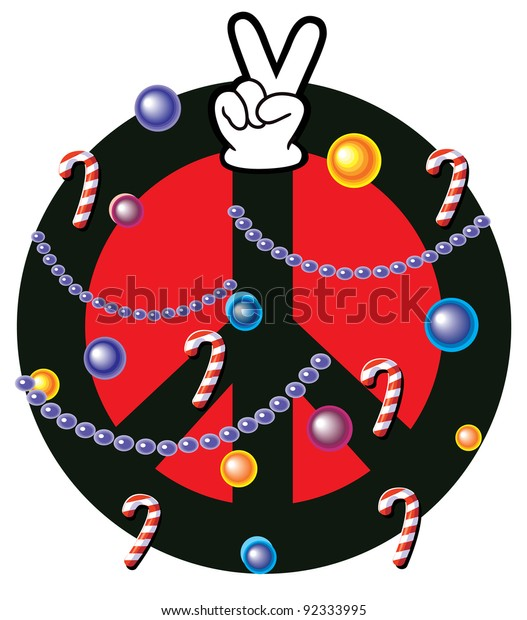 Peace Christmas Sign.Christmas Peace Sign Stock Vector Royalty Free 92333995