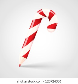 Christmas Pencil Incorporated in a Candy Cane Form. Realistic New Year Vector Illustration with Soft Shadows. Creative Winter Holiday Concept. Isolated.
