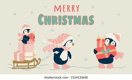 Christmas penguin character. Cute penguin vector illustration