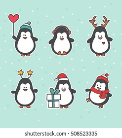 Christmas penguin characters - Set of winter cartoon patches, badges, and pins. Cute flat vector animal stickers