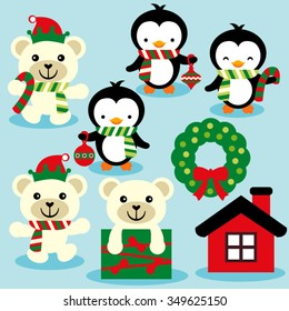 Christmas penguins and polar bears. Cute vector.