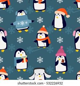 Christmas penguins seamless pattern vector.