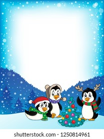Christmas penguins thematic frame 2 - eps10 vector illustration.