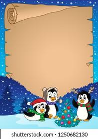 Christmas penguins thematic parchment 3 - eps10 vector illustration.