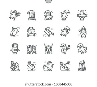 Christmas penguins Well-crafted Pixel Perfect Vector Thin Line Icons 30 2x Grid for Web Graphics and Apps. Simple Minimal Pictogram