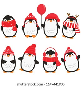 Christmas Penguins In White Background