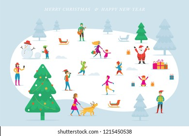 Christmas, People in Action, Activity Outdoor, Winter Background, New Year Celebration, Minimal Style