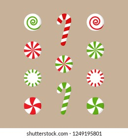 Christmas peppermint candy vector illustration collection. Round red or green and white xmas, holiday candy with swirls and candy cane lollipops. Isolated on beige background.