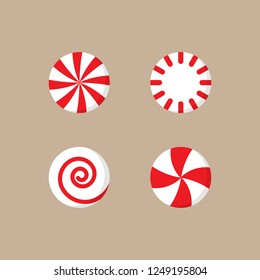 Christmas peppermint candy vector illustration icon set. Round red and white xmas, holiday candy with swirls. Isolated on beige background.